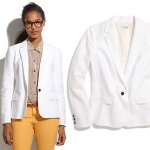 Madewell Tailored Linen Blazer in White 86930